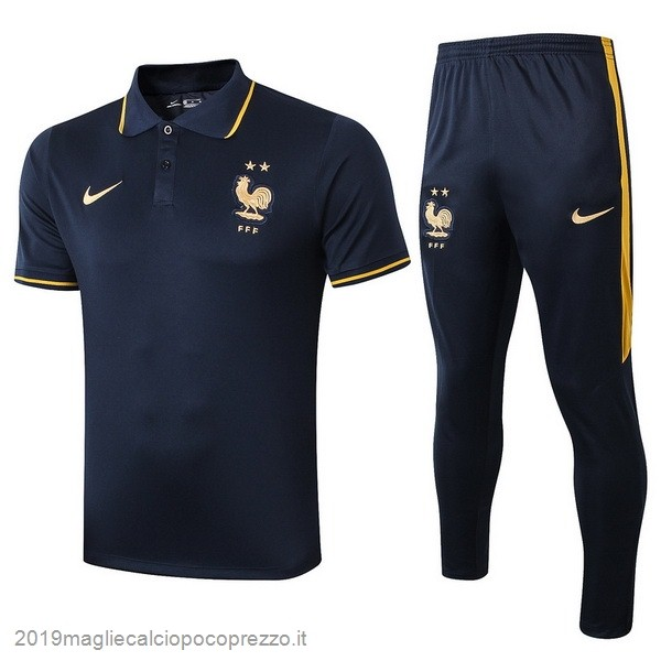 Acquisto Maglie Calcio Nike Set Completo Polo France 2019 Blu Navy