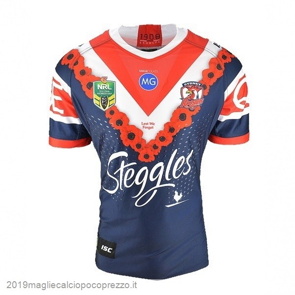 Acquisto Maglie Calcio Isc Anzac Rugby Maglia Sydney Roosters 2018 Blu
