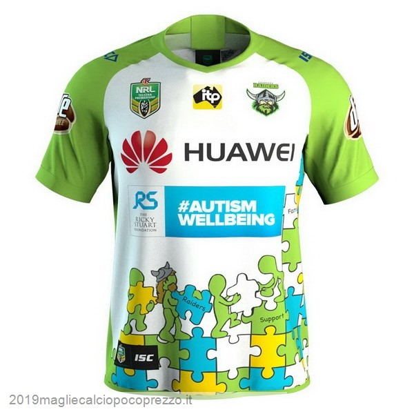 Acquisto Maglie Calcio Isc Huawei Caridad Rugby Maglia Canberra Raiders 2018 Bianco Verde
